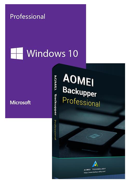 Windows10 PRO OEM+AOMEI Backupper Professional 365 Days 5.7 Edition Key Global
