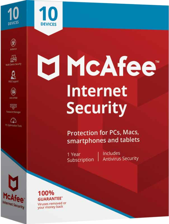 McAfee Internet Security 10 Devices 1 YEAR Global
